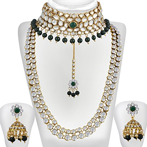 Spargz Gold Plated Green White Kundan Pearl Haram & Choker Necklace Set...