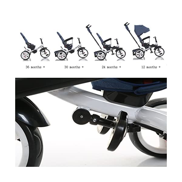Baby Kids Children Tricycle Ride-on 3 Wheels Safe for Children with Sun Canopy,Back Storage and Non-Slip Handle (Color : A) DUOER-Pushchairs Features assembled canopies without worrying about rain and sunshine. Safety features and safety belts are provided for safety. The pedal can be folded for more convenient use: the pedal can be folded to make travel more convenient. Upgrade the thickened sponge pillow to protect the baby's head and make the baby ride safer. 5