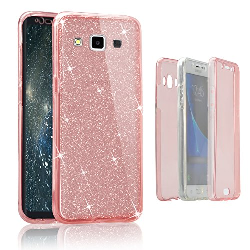 Custodia Samsung Galaxy A3 (2015) A300 Cover Case , Vandot [360 gradi] 3 in 1 Protezione Completa Glitter Sparkle Bling Bling Trasparente Custodia per Samsung Galaxy A3 (2015) A300 Cover Case Caso Gom 360 Rosa