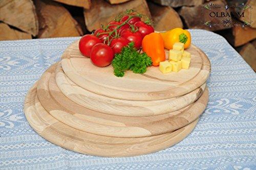 4 Picknick Pizzabretter, Flammkuchen Servierbrett, Holzbrett rund, PREMIUM-QUALITÄT, groß Holz,mit umlaufender Rille - Ölrille / Saftrille -, je 2 x ca. 25/28 cm, als Bruschetta-Pita-Döner-Naan-Roti-Ciabatta-Langos-Chubz-Servierbretter, Picknick-Schneidebrett Picknick-Schneidebrettchen, Picknickbrettchen,Anrichtebretter, Brotzeitbretter, Steakteller schinkenbrett rustikal, Schinkenteller von BTV