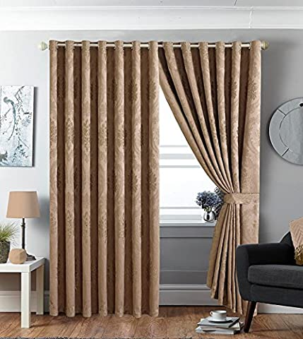 Jacquard Ring Top Curtain Fully lined Eyelet Tape Pair Curtain for Bedroom Living Room + 2 Tie Backs (2 x ( 90
