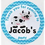 CUTE COW Design Thank you for coming to. Stickers - PERSONALISED A4 Sheet of 15 x 50mm Round Party Bag Stickers