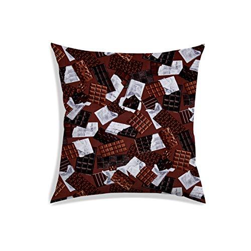 RADANYA Schokolade Digital Gedruckt Kissenbezug Satin Stoff Quadratische Bettwäsche Kissenbezug 16 X 16 Zoll - Kissenbezug Schokolade Satin