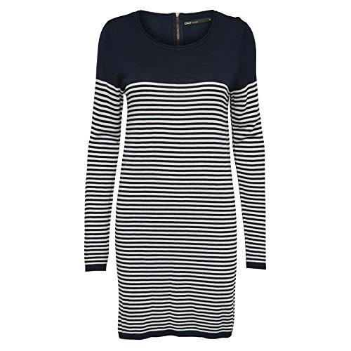 Only - Robe - tricoté - Manches Longues - Femme Bleu