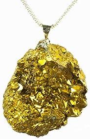Collar de pirita dorada Plata de Ley 925 - Regalos de San Valentín para ella