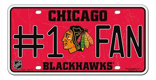 Hall of Fame Memorabilia Chicago Blackhawks # 1Fan Metall License Plate Tag NHL Hockey
