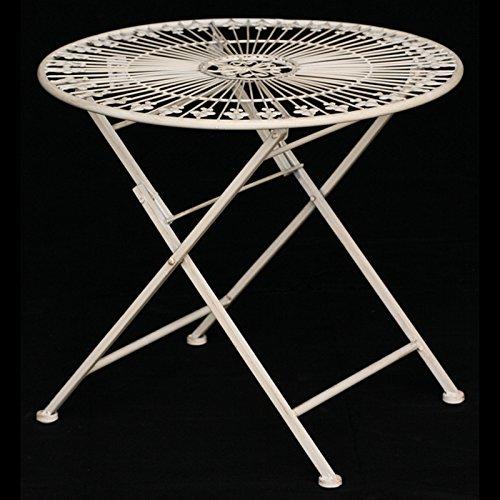 Ellas-Wohnwelt Table Pliante Ronde en métal pour Enfant Blanc Vieilli