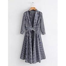 GAOLIM Funda Womens Dress - Verificar, Basic,Azul Marino,L