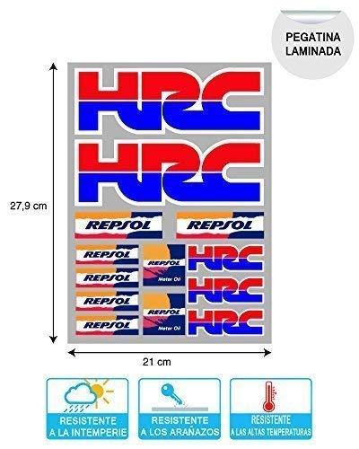 Pegatina Sticker ADESIVO AUFKLEBER Decals AUTOCOLLANTS Compatible con HRC REPSOL Honda Laminado...
