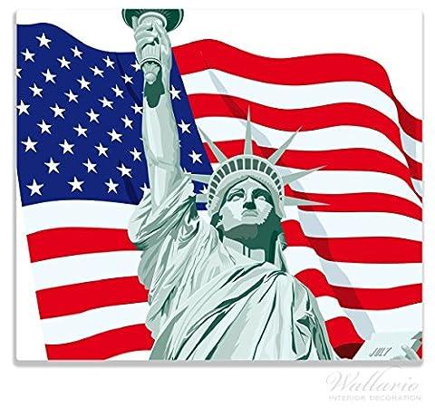 Wallario Herdabdeckplatte / Spitzschutz aus Glas, 1-teilig, 60x52cm, für Ceran- und Induktionsherde, Freiheitsstatue USA