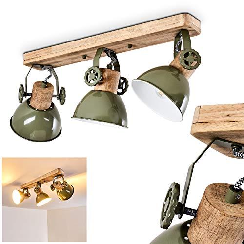 Lámpara de techo Orny, 3 llamas de metal/madera en verde/blanco/marrón, con focos...