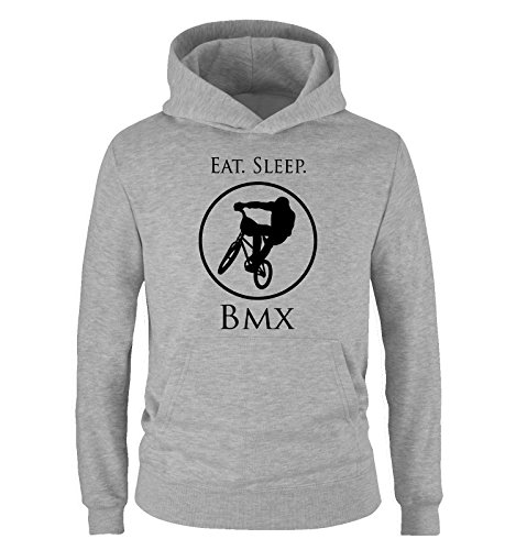 Comedy Shirts - EAT. Sleep. BMX - Kinder Hoodie - Grau/Schwarz Gr. 98/104