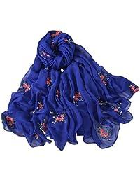 d87dbce73692 LianMengMVP Mode Femme Soilde impression de fleurs Longue écharpe souple  Foulard Châle Mousseline de soie 180x150cm