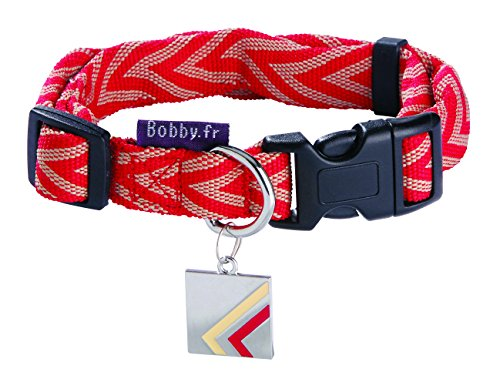 bobby-chevron-collar-de-nailon-para-perro-pequeno-color-rojo