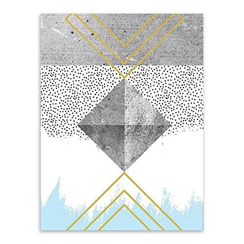 Impression sur Toile l'art De Mur,Minimaliste Moderne Résumé Points Noirs Géométrique Carré Photo Impression sur Toile Peinture d'art Nordique Affiche pour La Maison Décoration Salon Chambre À