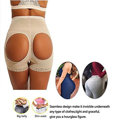 Biddtle Damen Miederslip Butt Lifter Figurformender Shapewear Push Up Enhancer Bauch Weg Höhe Taille Miederhose Unterwäsche,Beige,XL - 2