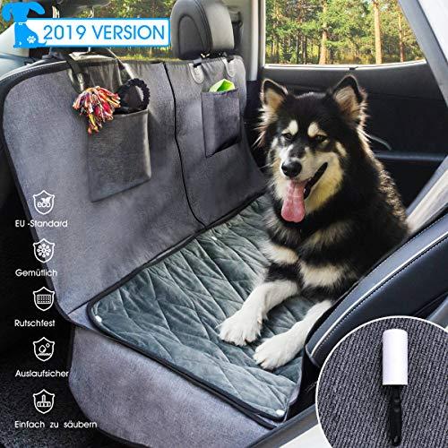 GLAMFIELDS Hundedecke für Auto rückbank, Wasserdicht Waschbar autoschondecke Hund rücksitz, autodecke für Hunde rückbank, Kratzfest rutschfeste autoschutzdecke,mit seitenschutz und Samt (L Size)