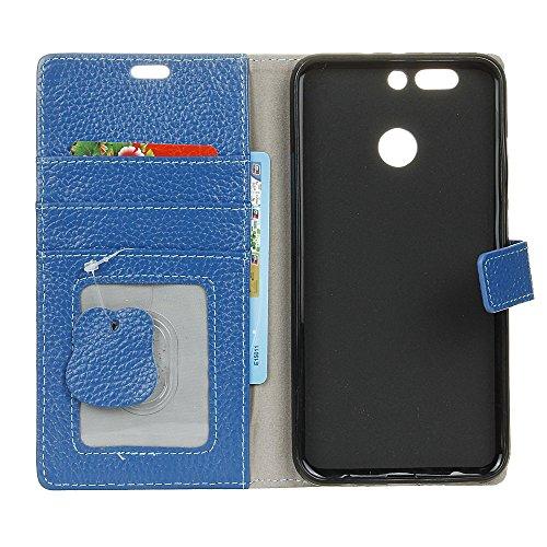 Premium Echtleder Litchi Haut Textur Brieftasche Tasche Tasche Flip Stand Cover Shell mit Card Slots Für Huawei Nova Plus ( Color : Black ) Blue