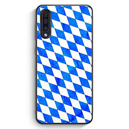 Bayern Flagge Grunge - Silikon Hülle für Samsung Galaxy A50 - Motiv Design Bayrisch - Cover Handyhülle Schutzhülle Case Schale Flagge Cover