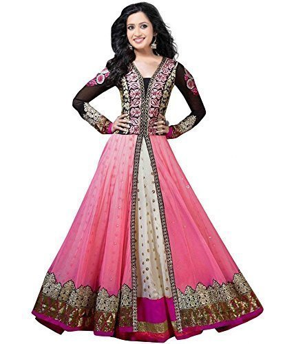 Jil Creation's Faux Georgette Anarkali Suit Dress Pink.  available at amazon for Rs.599