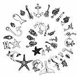 Ruby 50 piezas Colgantes de Metal Abalorios Estilo de Plata Tibetana Forma Mixta Varios Temas para elaborar bisutería (Tema Marino y Musical)