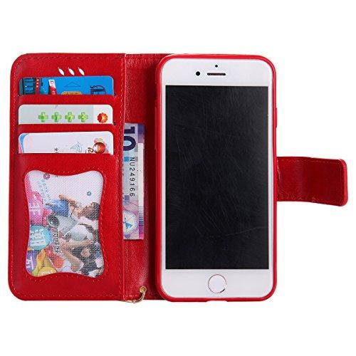 Custodia iPhone 7, iPhone 7 Cover Wallet, SainCat Custodia in Pelle Flip Cover per iPhone 7/8, 3D Creativa Design Ultra Sottile Anti-Scratch Book Style Custodia Morbida Cover Protettiva Caso PU Leathe Rosso