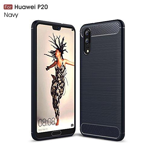 Huawei P20 Hülle, LTWS Flexiblem Ultra Slim TPU Case Silikon Hybrid Schutzhülle Kohlenstoff-fasern Tasche Slim-Fit Cover für Huawei P20 -Blau