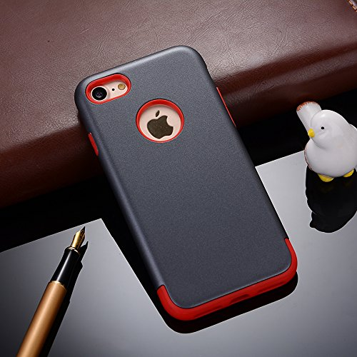 "MOONCASE iPhone 7 Coque, Combo Hybride Dual Layer TPU +PC Etui Antichoc Robuste Housse Protection Armure Case pour iPhone 7 4.7"" Gris Rouge Gris Rouge"