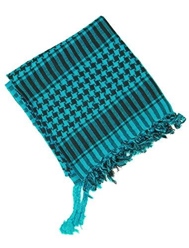 Lovarzi Keffieh Foulard Palestinien - Chic et souple écharpe pour Homme et Femme Turquoise et Noir