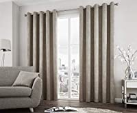 "Textured Duotone Stone Beige Heavyweight Lined 66"" X 90"" - 168CM X 229CM Ring TOP CURTAINS by Curtains"