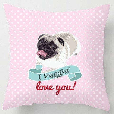 I Puggin Love you San Valentín perro carlino rosa cojín