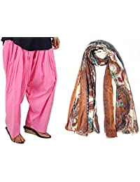 Stylezee Ladies Designer Pure Cotton Solid Plain Patiala Salwar With Printed Scarves
