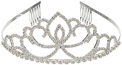 Katara - Diadème argentée couronne de princesse avec deux petits