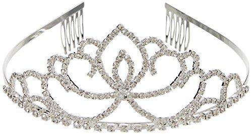 Katara 1637 - Silbernes Strass Diadem Haarspange - Hochzeit, Brautjungfern, Kommunion, Konfirmation