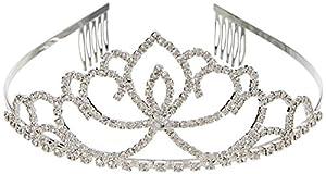 Katara Tiara de Princesa con Diamantes de Imitación de Plata para Novia y Dama de Honor - Corona Modelo #4 (1738)