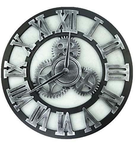 aifengxiandonglingbaihuo 3D große Klassische Vintage Holzwanduhr Retro-Ausrüstung hängende Uhr römische Ziffer Horologe europäischen Stil Dekor Wohnzimmer, D-123,40cm