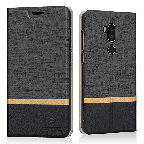 Coque Alcatel A7 XL, Riffue Housse Anti-choc survivor à Flip Rabat classique en Cuir PU, [Ultra fit], Protecteur Etui avec Support Slots de Cartes Case Cover pour Alcatel A7 XL 6'' - Noir
