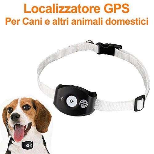 Localizzatore Tracker GPS GSM GPRS per Animali Domestici, Cani, Impermeabile P58, Nero