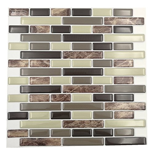 "Cocotik Peel and Stick Tile 10""x10"" 3D Decorative Backsplash Kitchen Tile - Pack of 6"