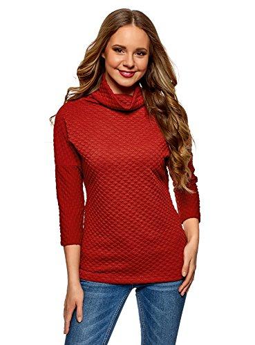 oodji Collection Femme Pull en Tissu Texturé à Large Col Rouge (4500N)