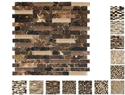 1 Netz Marmor Glas Mosaik Castano Line15 Ambiente von Mosaikdiscount24 bei TapetenShop