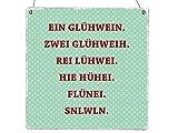 Interluxe XL Holzschild EIN GLÜHWEIN Zwei GLÜWEIH Geschenk Weihnachten Deko Türschild