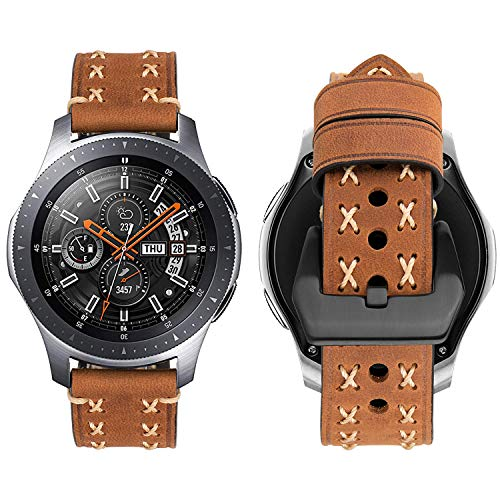 iBazal 22mm Armband Leder Schnellverschluss Kompatibel Samsung Galaxy Watch 46mm,Gear S3 Frontier/S3 Classic,Huawei Watch GT,Honor Magic, Huawei Watch 2 Classic, TicWatch Pro Herren - Besondere Braun