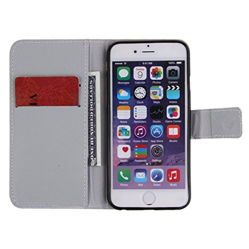 iPhone 4S Leather Case, Felfy Ultra Slim Flip Sprichwort It is a beautiful day Muster Ständer mit Credit Card Slots Magnetverschluss PU Leder Cover für Apple iPhone 4/4S Etui Holster Schutz hülle Hand Don't touch my mobile Phone