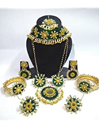 Indian Consignors Jewellery Green Gota Patti Flower Jewellery Set With Necklace, Earrings, Maang Tika, 2 Bracelets...