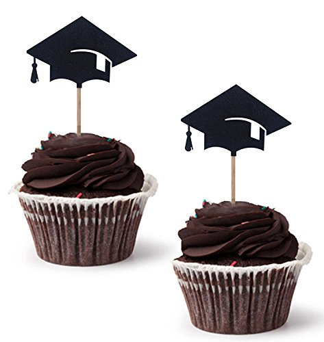 Graduation Cupcake Topper 30Stück/Set, Abschlussfeier Party Dr. Hat Mini Geburtstag Kuchen Snack Dekorationen Picks Herstellern Party Zubehör für Die Graduierung