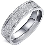 Flongo Men's Ladies Stunning Silver Matte Sparkling Stainless Steel Engagement Wedding Band Promise Ring