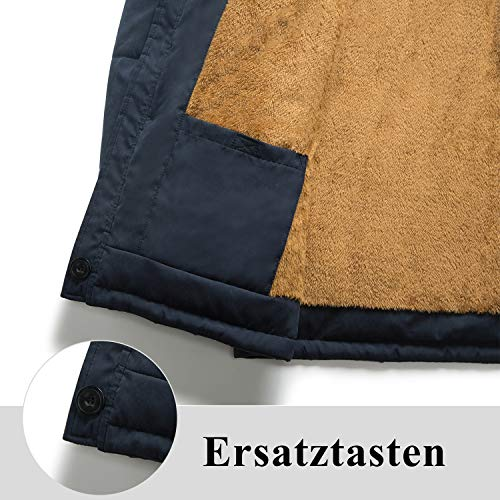 Gefütterte Winterjacke Blau – Herren Winterparka mit Fellkapuze – Warme Männer Übergangsjacke - 4