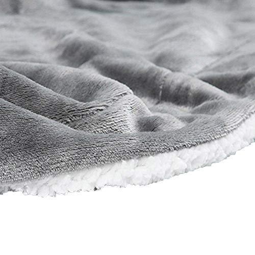 LouisaYork épais Doux Couverture Couvre-lit Polaire, Flanelle Polaire Sherpa Plaids couvertures, réversible en Microfibre Solide couvertures Canapé lit Canapé Double King Size, Gris, 51 * 63 inch