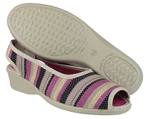 Mirak Ladies Carla Sling Back Peep Toe Textile Summer Shoe Red Rouge